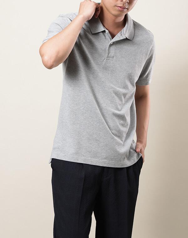 無印良品/新疆綿 鹿の子編み半袖ポロシャツコーディネート