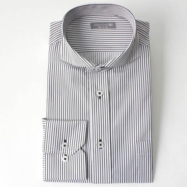 カッタウェイワイシャツ白黒ストライプの画像