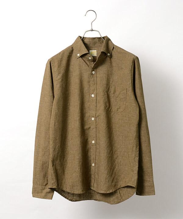 BARNS OUTFITTERS(バーンズ アウトフィッターズ)|フレンチリネン ロングスリーブ ボタンダウンシャツの画像