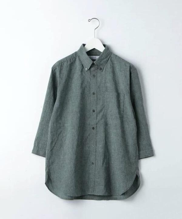 green label relaxing(グリーンレーベル リラクシング)|フレンチリネン ボタンダウン 7分袖 シャツの画像