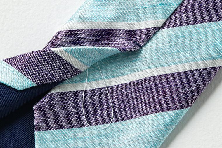 かんぬき止めとたるみ糸のディテール画像