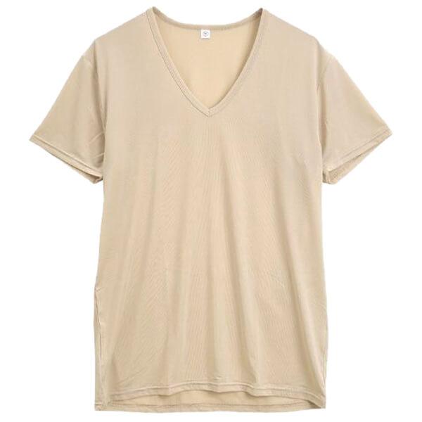 ContRante|シルキーストレッチ Vネック 半袖 Tシャツの画像